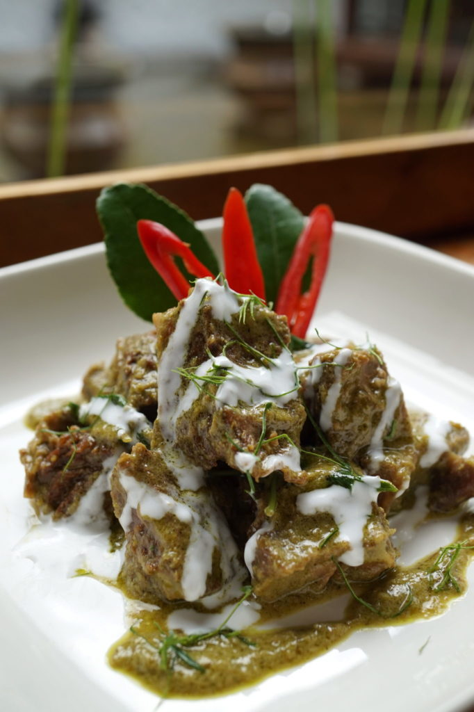 Beef Ribs Served In A Dry Green Curry - Tamarind Hill - Food For Thought