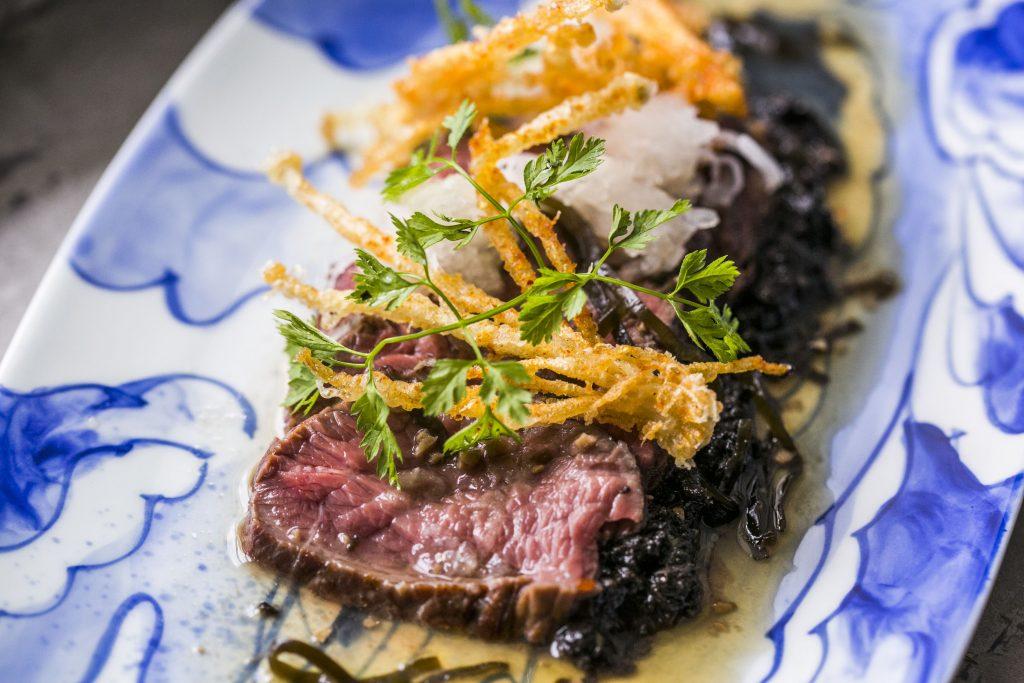 Charcoal Fired Rump Konbu Vinegar, Tempura, Enoki, Shichimi | Neon Pigeon | Food For Thought