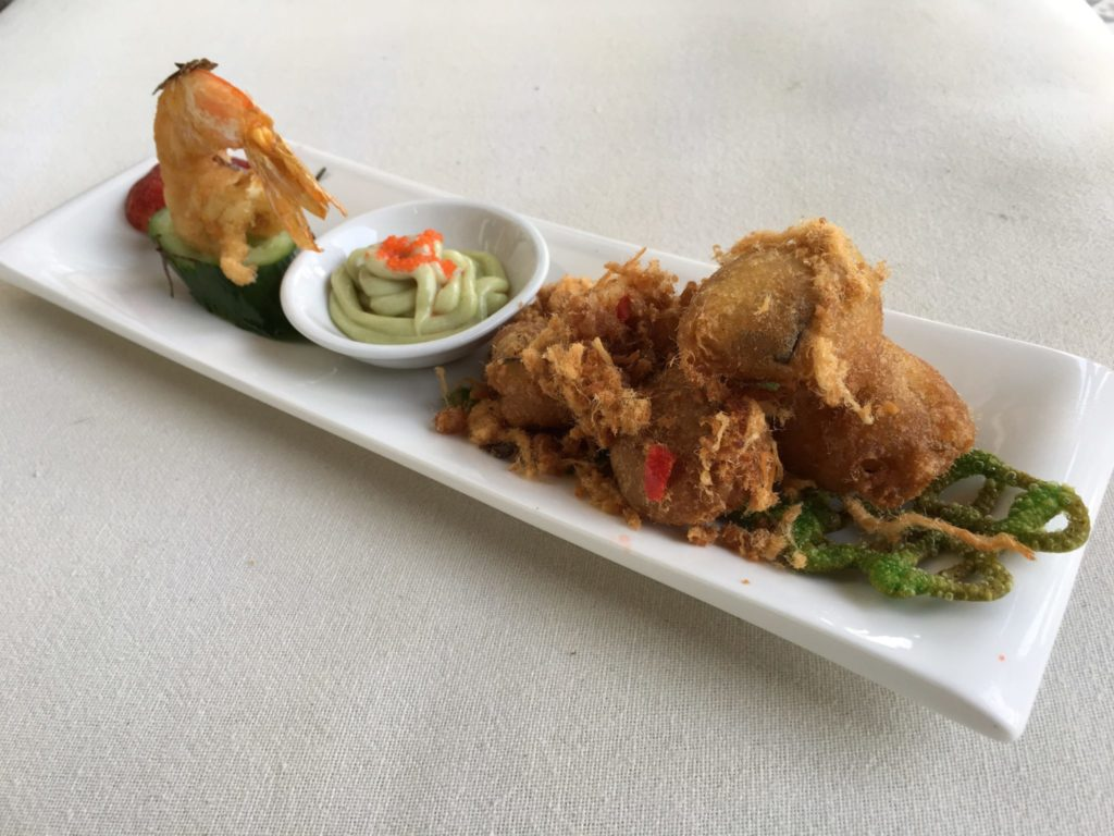 Crispy Eggplant   Deep Fried King Prawn   Cheong Fatt Tze   Food For Thought
