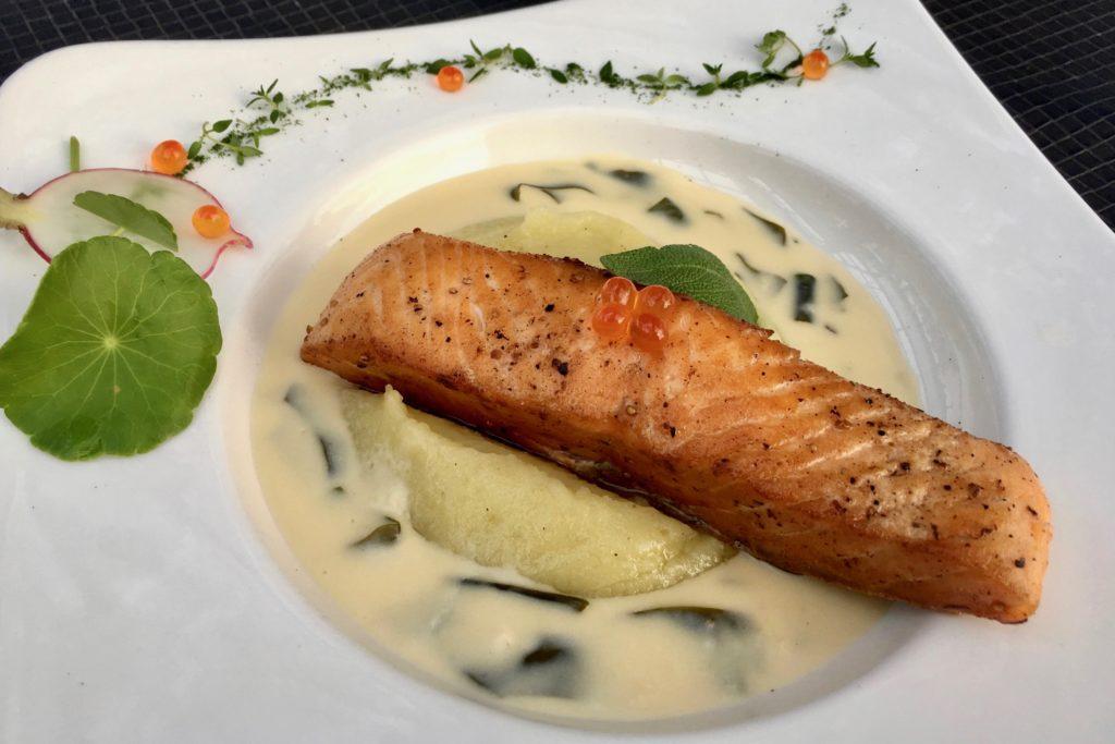 Crispy Skin Salmon on Wasabi Mash in a Wakame Sauce | D Bistro | RarinJinda Wellness Spa Resort