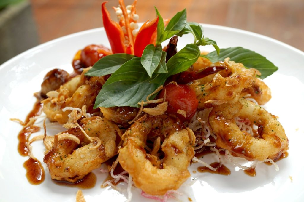 Fried Squid & Cherry Tomatoes In A Spicy Tamarind Sauce - Tamarind Hill - Food For Thought