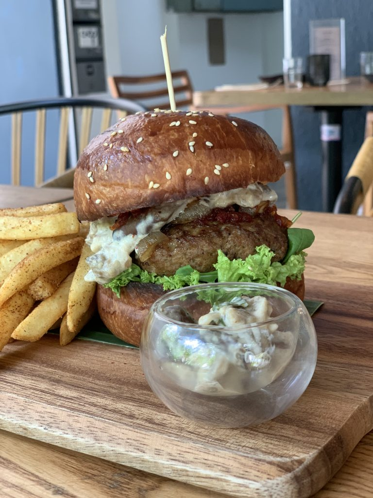 Grilled Spicy Lamb Burger | Gin Rik Sha | Food For Thought