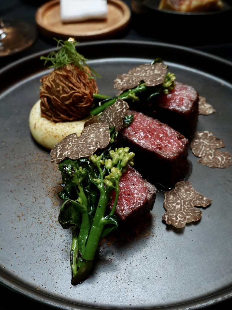 Japanese Omi Beef Striploin A5 | Skillet at 163 x Perrier Jouét | Food For Thought