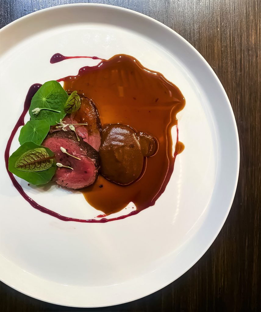 Venison, dark chocolate mole, beet root | Long Bar at ATAS | Food For Thought